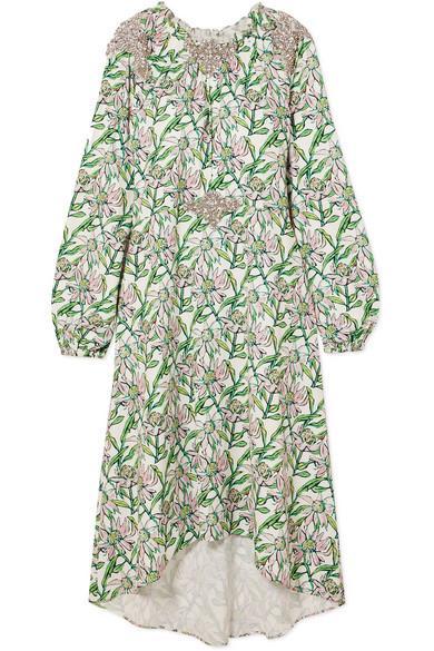 Dodo Bar Or Crystal-embellished Floral-print Crepe Dress In Green