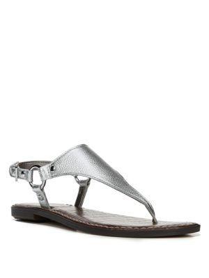 Sam Edelman Greta Leather Thong Sandals In Silver