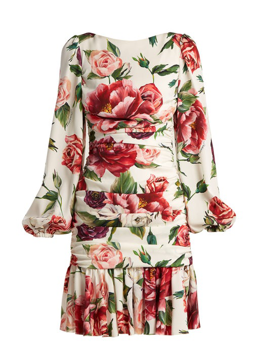 Dolce & Gabbana Charmeuse Stampa Peonie Full Sleeve Ruched Dress In White Multi