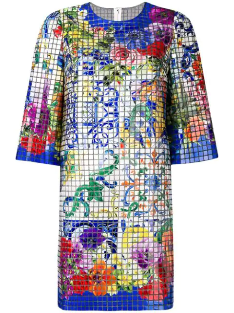 Dolce & Gabbana Mosaic Majolica Print Dress In Multicolour
