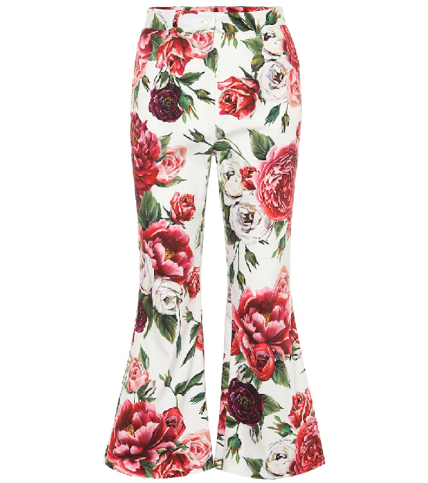 Dolce & Gabbana Floral-printed Stretch Cotton Pants In Multicoloured
