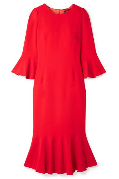 Dolce & Gabbana Ruffled Cady Midi Dress In Papaya