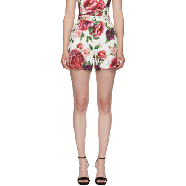 Dolce & Gabbana Dolce And Gabbana Multicolor Peonie Brocade Shorts In Har40 Pink