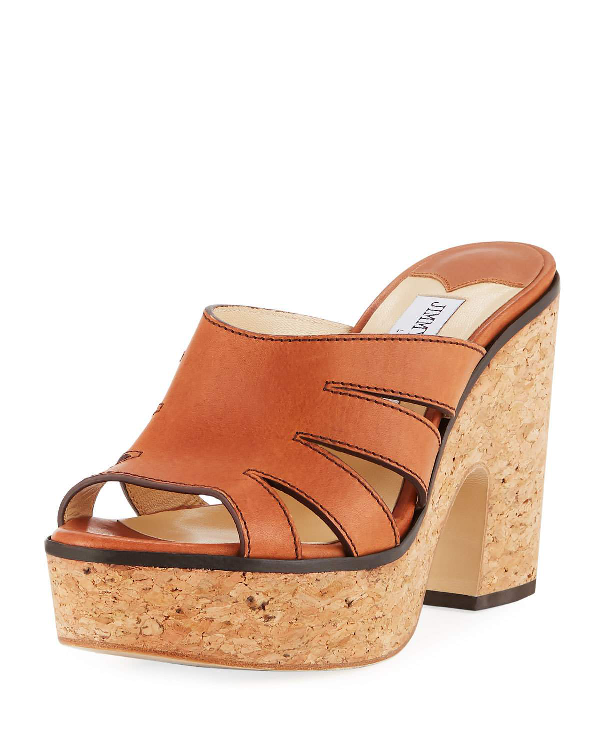 d987da11ec03 Jimmy Choo Dray Leather Cork Platform Slide Sandal In Tan