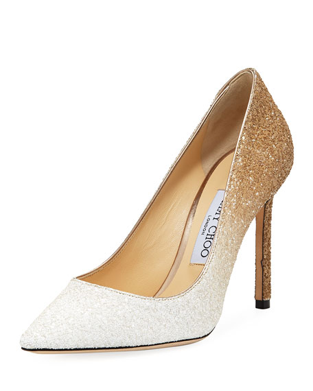 cd5bb0ddf Jimmy Choo Women's Romy 100 Ombre Glittered Leather Pointed Toe High-Heel  Pumps In White