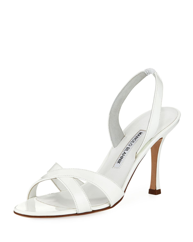 7d848389778 Manolo Blahnik Callasli Patent Leather Slingback Sandal In Pink ...