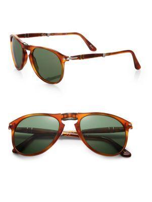 Persol Folding 52mm Aviator Sunglasses In Light Brown