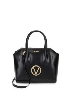 Valentino By Mario Valentino Minimi Leather Top Handle Bag In Black