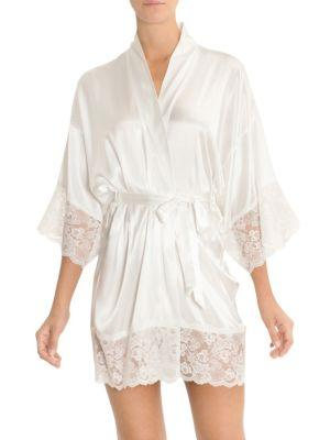 In Bloom The Bride Satin & Lace Wrapper Robe In Ivory