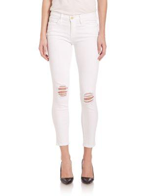 Frame Le Skinny De Jeanne Distressed Cropped Jeans In Lilac Blanc