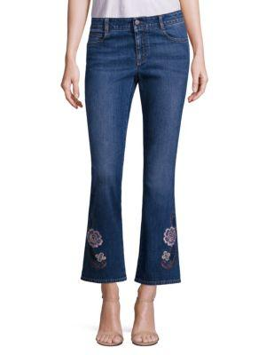 Stella Mccartney Skinny Kick Flare Jeans Withfloral Embroidery In Dark Blue