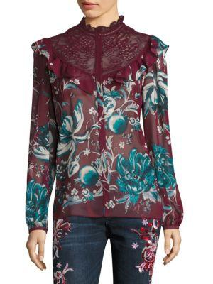 Roberto Cavalli Silk Floral-lace Blouse In Red