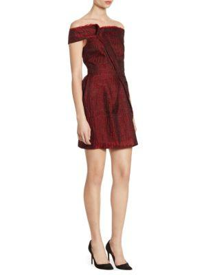 Roland Mouret Herland Off-the-shoulder Dress In Deep Ruby