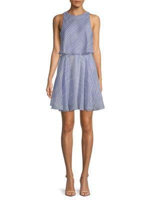 Halston Heritage Striped Mini Dress In Blue