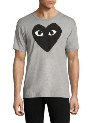 Comme Des GarÇons Play Printed Cotton Tee In Grey