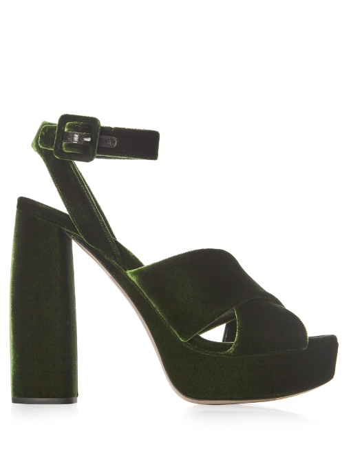 77b2fdb4126 Miu Miu Velvet Block-Heel Platform Sandals In Olive-Green