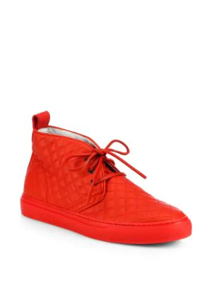 Del Toro Quilted Leather Chukka Sneakers In Red