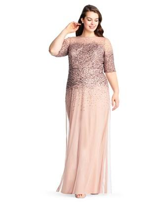 Adrianna Papell Beaded Illusion Gown In Rose Gold