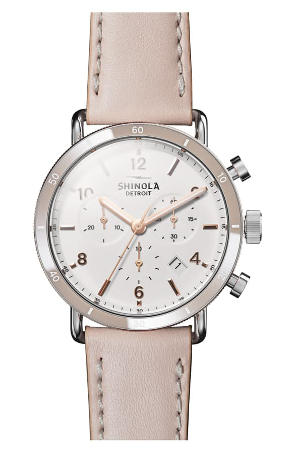 Shinola The Canfield Chrono Leather Strap Watch, 40Mm In Blush/ White/ Rose Gold