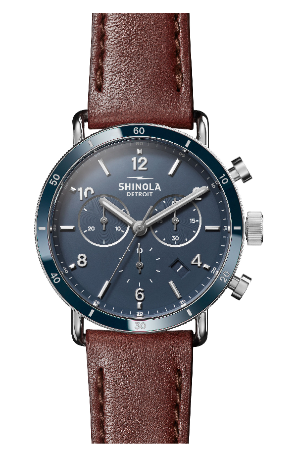 Shinola The Canfield Chrono Leather Strap Watch, 40mm In Dark Cognac/ Blue/ Silver