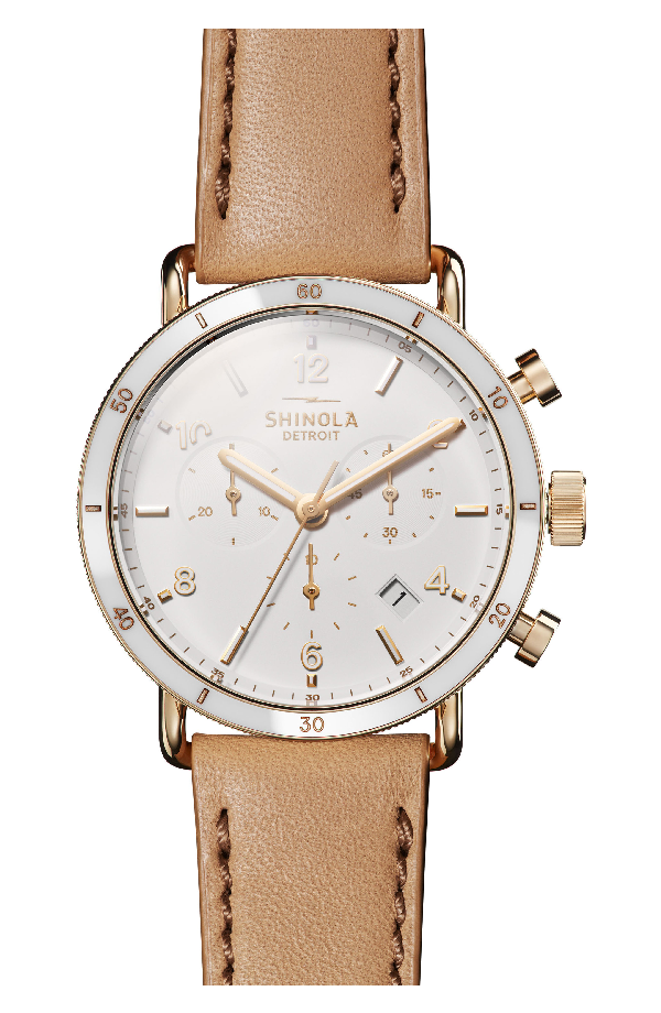 e5beb8d05 Shinola Canfield Sport 40Mm 3-Eye Chronograph Watch With Camel Leather  Strap In Camel/