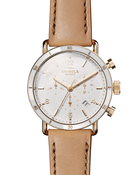 Shinola Canfield Sport 40mm 3-eye Chronograph Watch With Camel Leather Strap In Camel/ White/ Gold