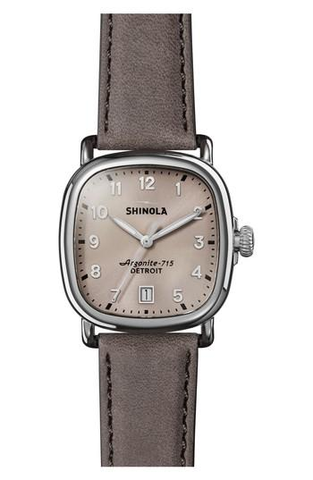 Shinola The Guardian Leather Strap Watch, 36mm In Grey/ Nude Pink/ Silver