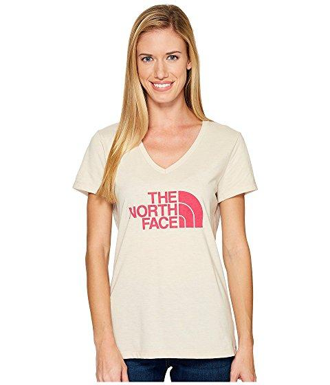 The North Face Short Sleeve Half Dome V-neck Tee In Tnf Oatmeal Heather/petticoat Pink (prior Season)