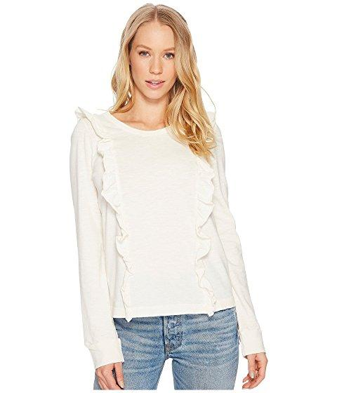 Splendid Heavy Cotton Slub Long Sleeve Ruffle Tee In Antique Off-white