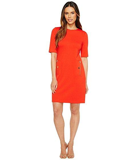 Calvin Klein 3/4 Sleeve Shift With Zip Pocket In Tango Red