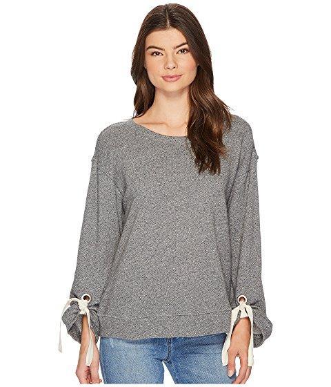 Splendid Grommet Sweatshirt In Dark Heather Grey