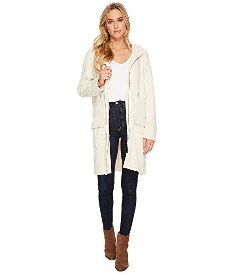 Splendid Bowery Sweater Knit Jacket Zip Front With Hood And Double Pocket In Macadamia