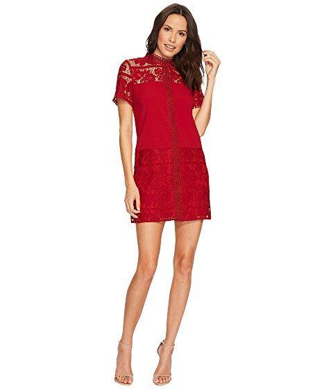 Kensie Striped Floral Lace Dress Ksdk8113 In Deep Red