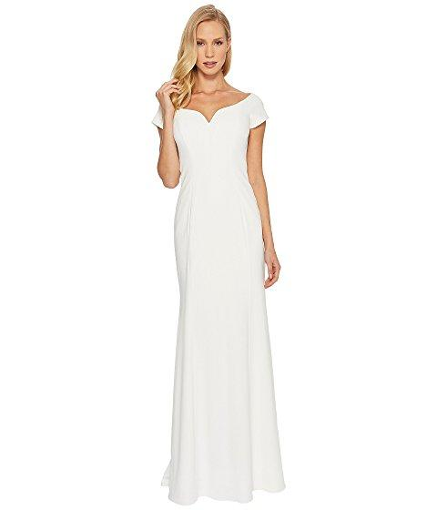 Badgley Mischka Stretch Crepe Off The Shoulder In Light Ivory