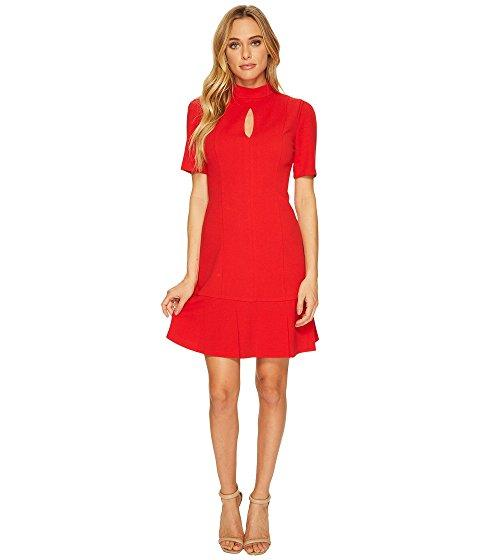 Donna Morgan Short Sleeve Drop Waist Crepe Dress With Keyhole In Red