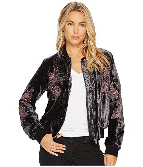 J.o.a. Embroidered Velvet Bomber Jacket In Charcoal
