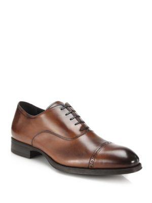 To Boot New York Derek Burnished Leather Captoe Oxfords In Tan