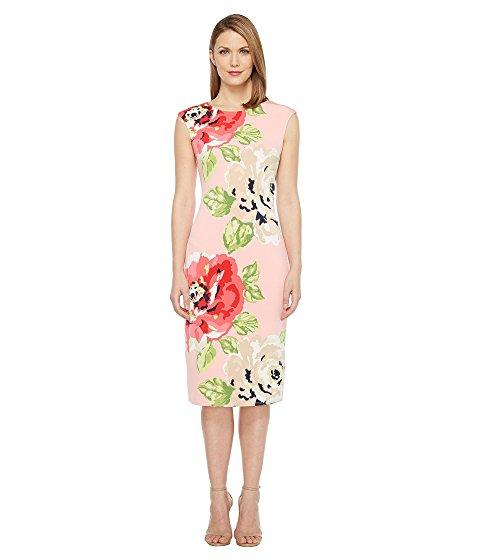 London Times Cap Sleeve Midi Sheath Dress In Blush/coral