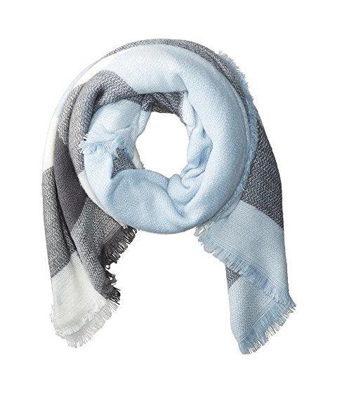 Hat Attack Pastel Blanket Scarf In Grey/light Blue