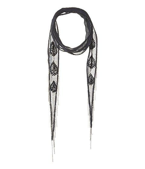 Chan Luu Paisley Amulet Embroidered Long Skinny Scarf, Total Eclipse/gunmetal