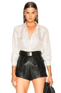 Rta Blythe Striped Button-down Top In White