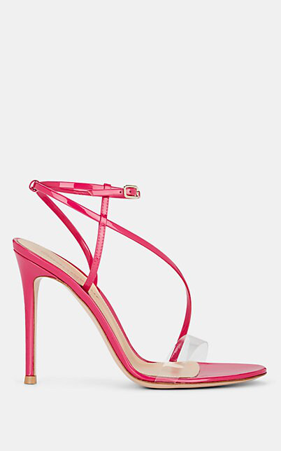 Gianvito Rossi Patent Leather & Pvc Ankle-Strap Sandals In Md. Pink