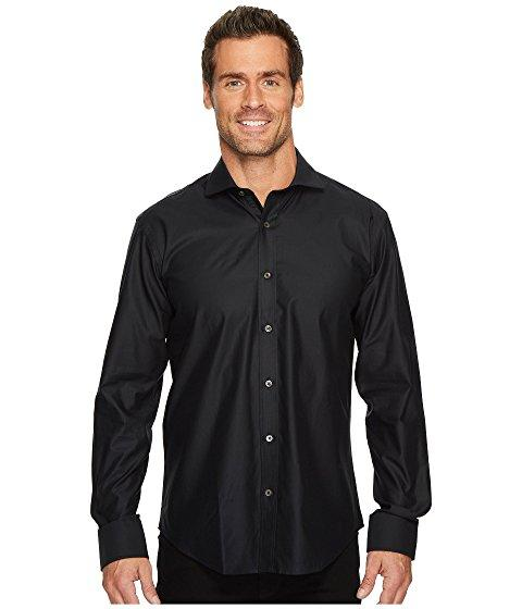 Bugatchi Long Sleeve Shaped Fit Point Collar Shirt In Black