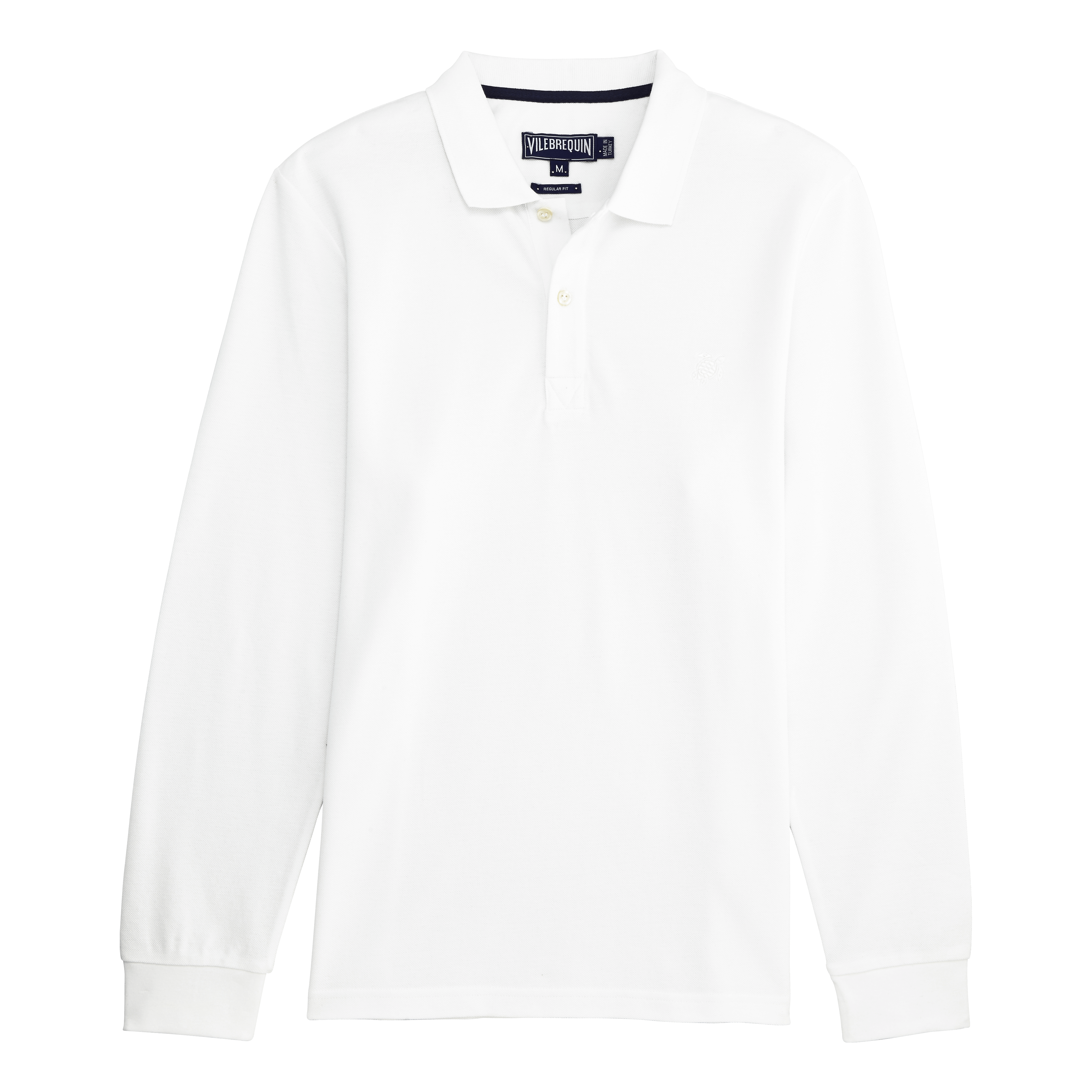 Vilebrequin Men Ready To Wear - Solid Long Sleeves Cotton Pique Polo - Polo - Palin In White