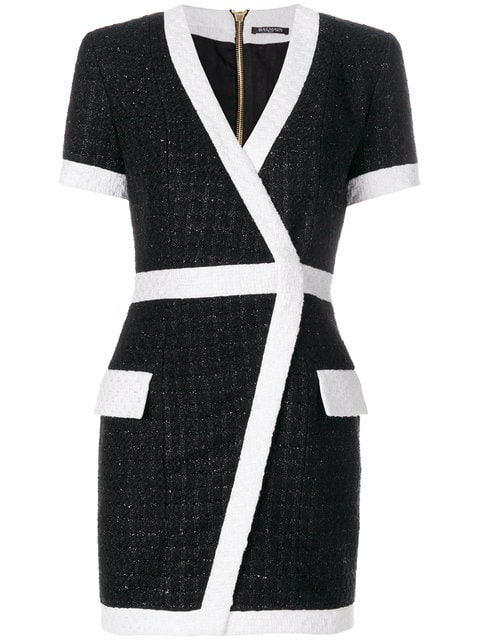 Balmain BouclÉ Tweed Mini Wrap Dress In Black