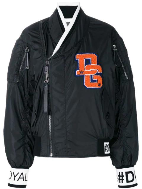 Dolce & Gabbana Varsity Bomber Jacket In Black
