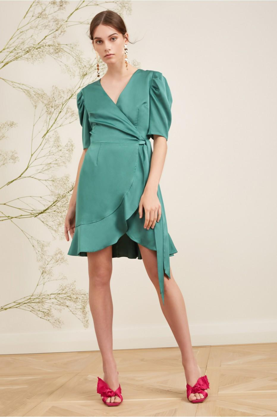 Keepsake This Moment Wrap Dress In Mint