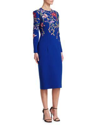 Ahluwalia Embroidered Midi Sheath Dress In Imperial Blue