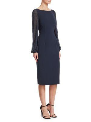 Ahluwalia Tove Embroidered-sleeve Sheath Dress In Midnight