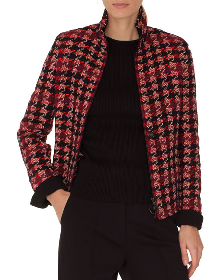 Akris Punto Stand-collar Zip-front Houndstooth Tweed Jacket In Multi Pattern